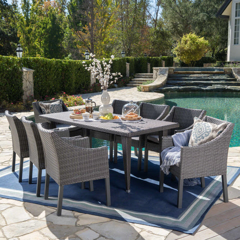Alanna Outdoor 9 Piece Wicker Dining Set with Water Resistant Cushions