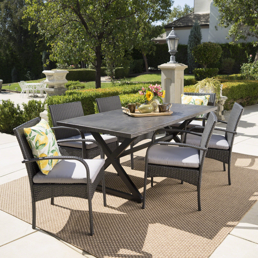 Marvelous Ashley Outdoor 7 Piece Aluminum Dining Set With Wicker Dining Chairs Home Interior And Landscaping Staixmapetitesourisinfo