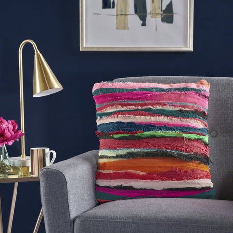 Rooney Multi Colored Bali Recycled Fabric Pillow