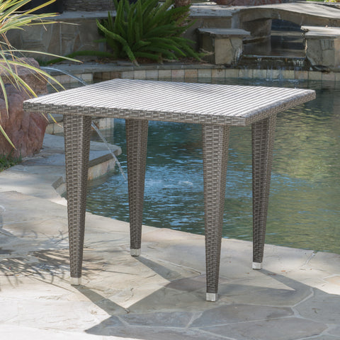 Alrol Contemporary Outdoor Patio Grey Polyethylene Square Table