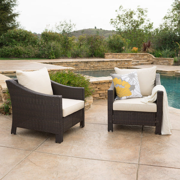 Cortez Outdoor Wicker Club Chair w/ Water Resistant Cushions (Set of 2)