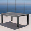 Crested Bay Outdoor Gray Aluminum Coffee Table with Tempered Glass Table Top