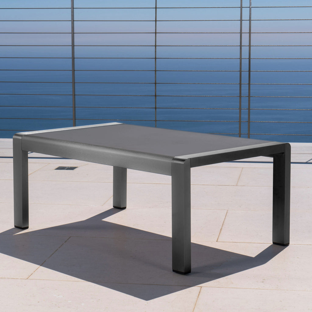 Crested Bay Outdoor Gray Aluminum Coffee Table With Tempered Glass