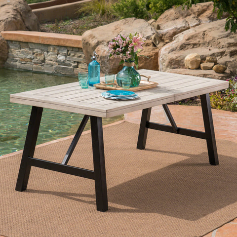 Borocay Outdoor Light Gray Finished Acacia Wood Dining Table