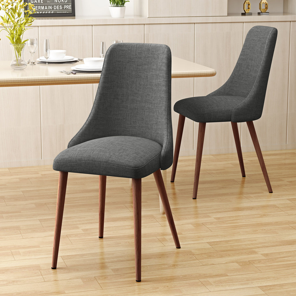 Soloman mid century fabric dining chairs with wood finished legs set of 2