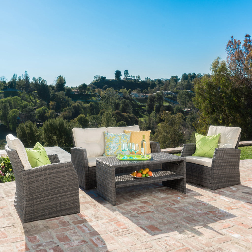 Del Norte 4pc Outdoor Gray Wicker Sofa Seating Set w/ Cushions