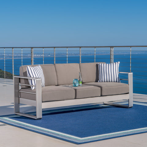 Crested Bay Outdoor Aluminum Khaki Sofa with Tray