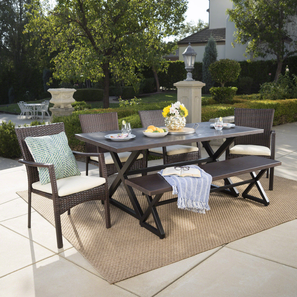 Tripoli Outdoor 6 Piece Aluminum Dining Set With Bench And Wicker Dining  Chairs