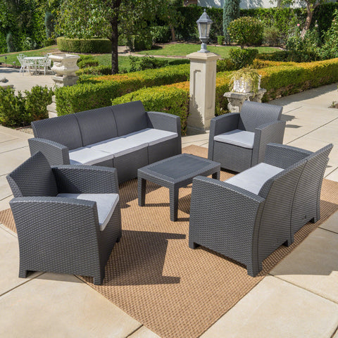 Dayton Outdoor 5 Piece Faux Wicker Rattan Chat Set with Sofa and Water Resistant Cushions