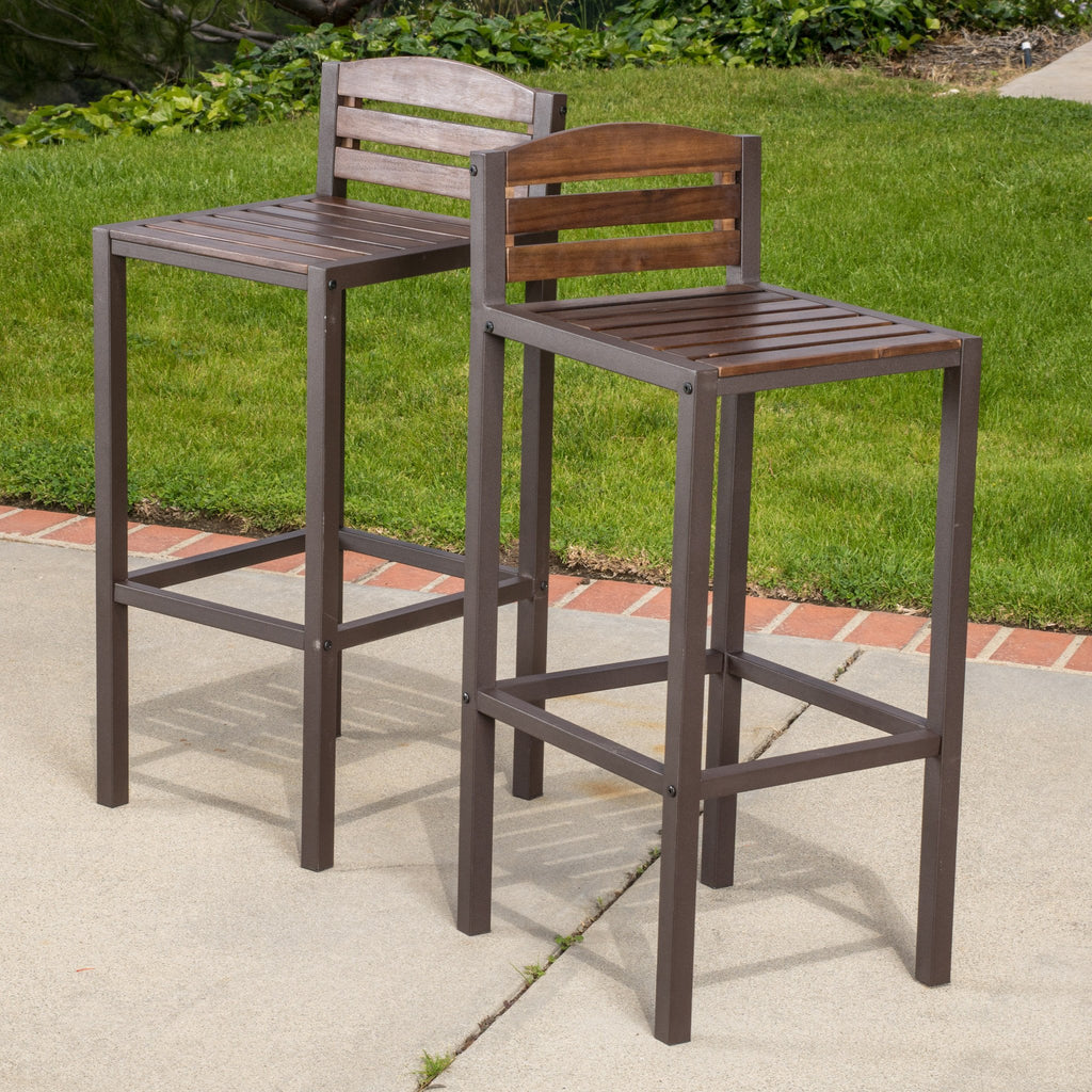 Isabel Acacia Rustic Metal Dark Brown Wood 30 Inch Barstools Set