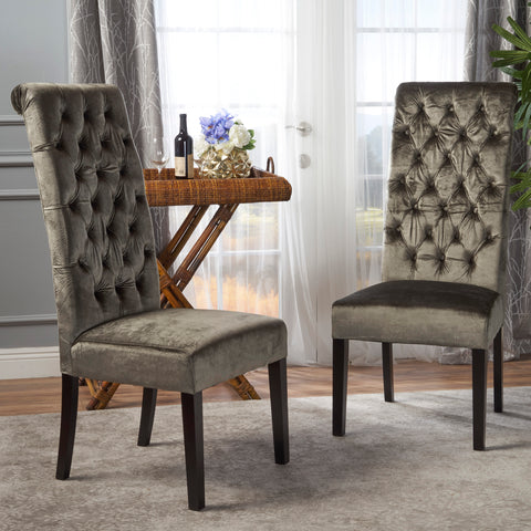 Leona Tall Back Tufted New Velvet Dining Chair (Set of 2)