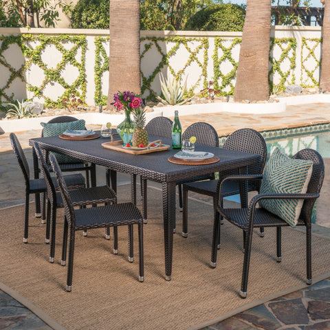 Antoinette Outdoor 9 Piece Multi-brown Wicker Dining Set with Stacking Chairs