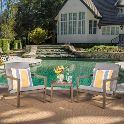 Lester Outdoor 3 Piece Acacia Wood Chat Set with Water Resistant Cushions