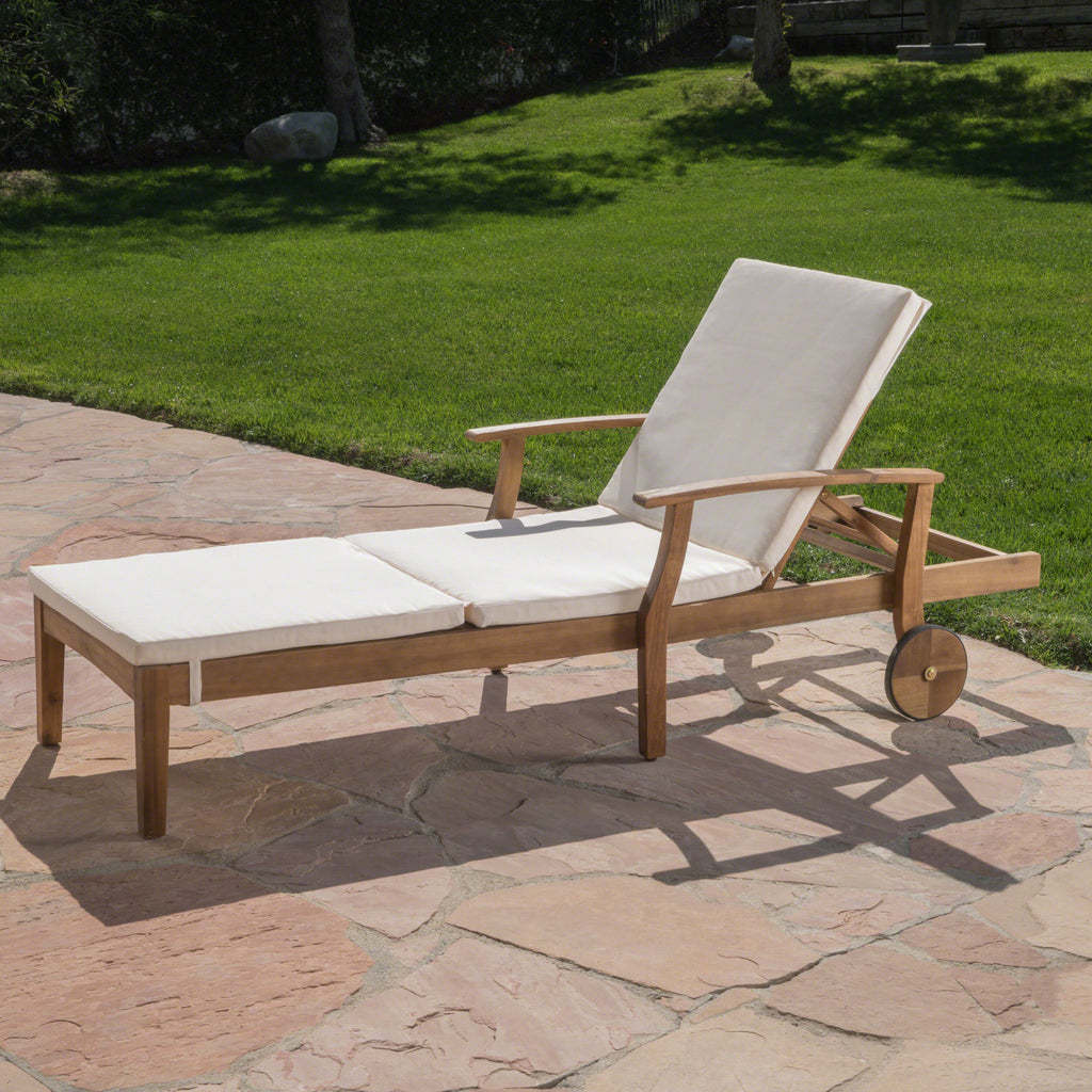 Daisy Outdoor Teak Finish Chaise Lounge With Water Resistant Cushion
