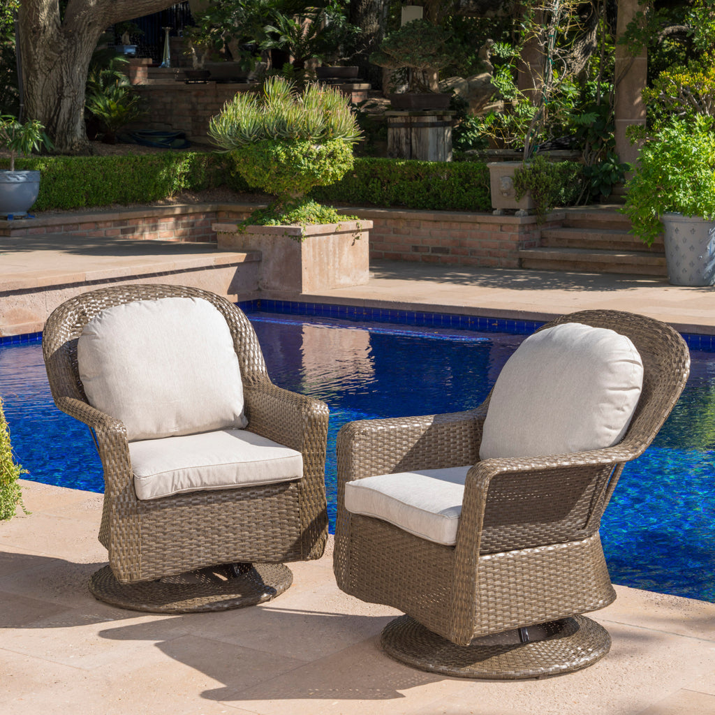 Marvelous Linsten Outdoor Wicker Swivel Club Chairs With Water Resistant Cushion U2013  GDF Studio
