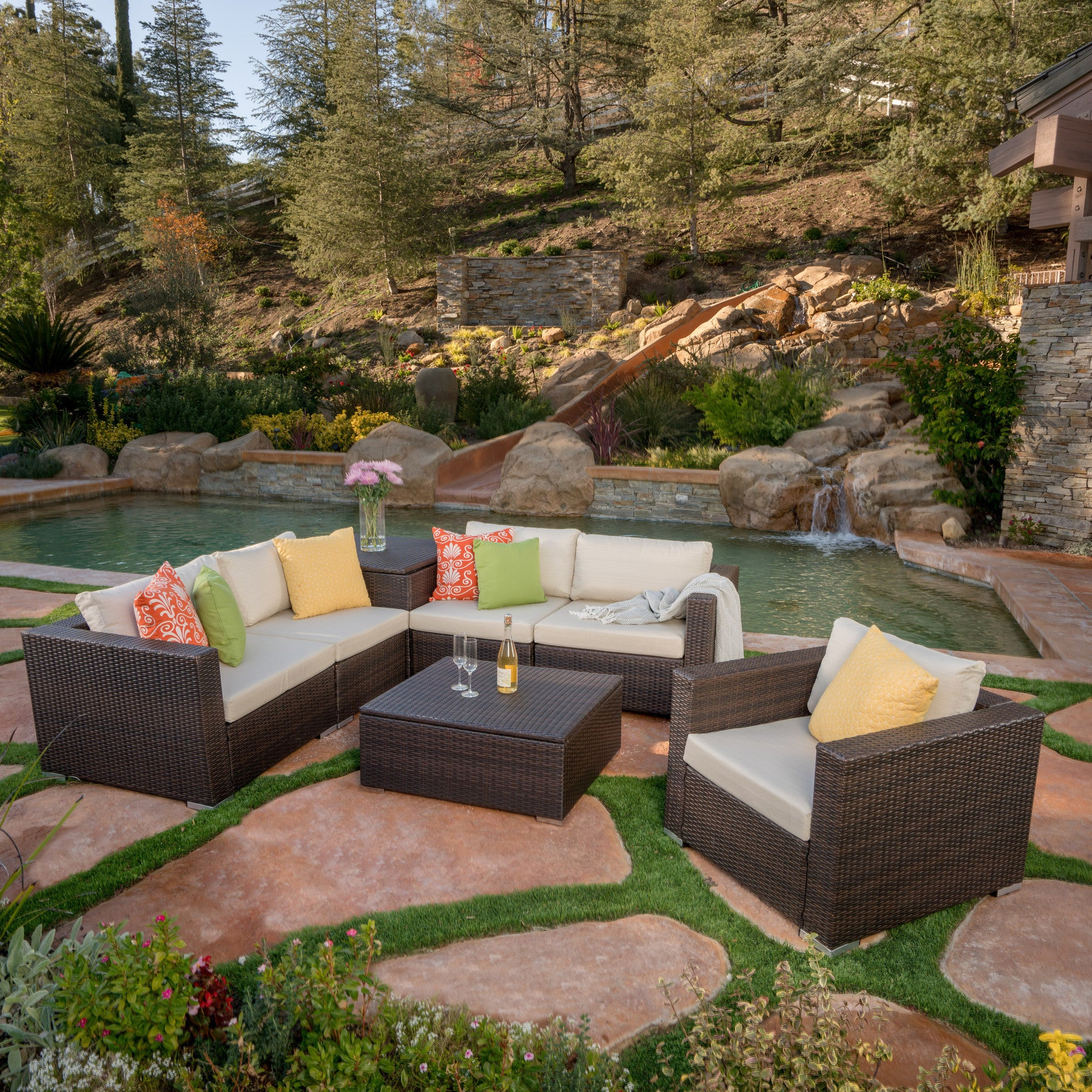 Outdoor Sectional Sofa Set Cushions foto