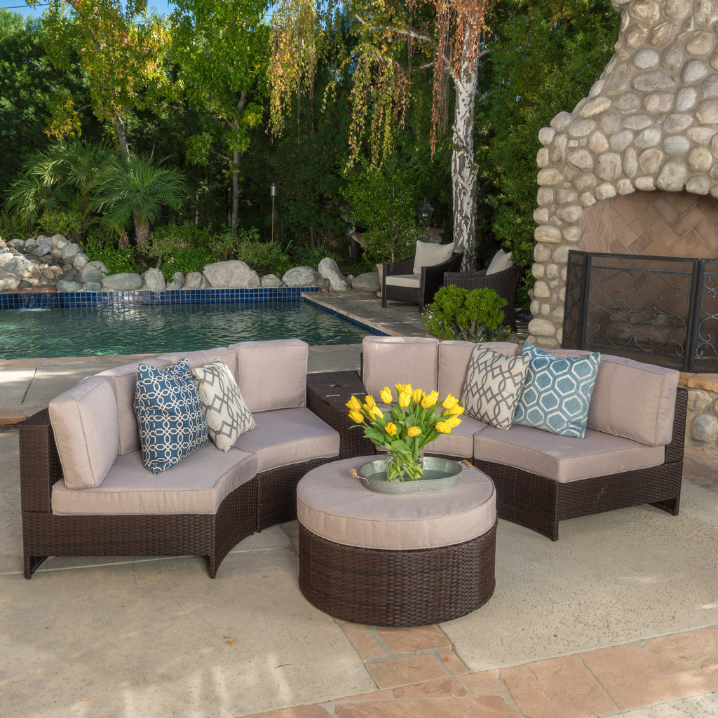 Riviera 6pc Outdoor Sectional Sofa Set w/ Storage Trunk