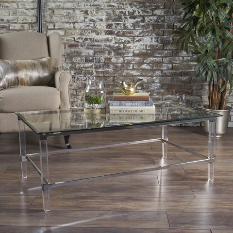 Bayor Modern Tempered Glass Coffee Table with Acrylic and Iron Accents