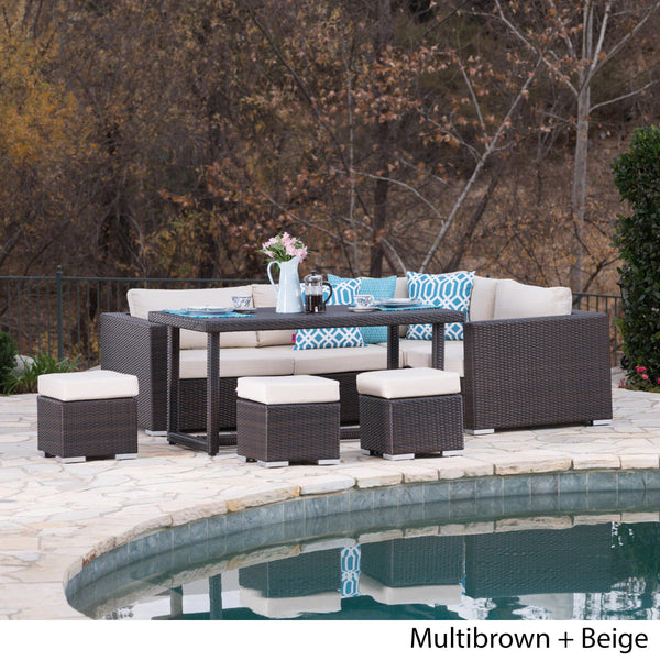 Santa Rosa Outdoor 7 Seat Dining Sofa And Ottoman Set With