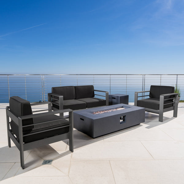 Coral Bay Outdoor Grey Aluminum 5 Piece Loveseat Chat Set