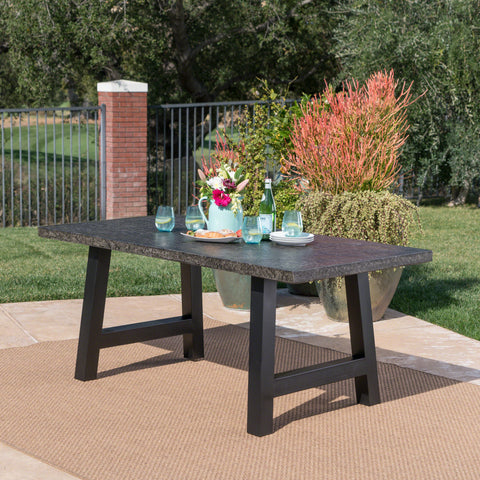 Doris Outdoor Gray Stone Finish Light Weight Concrete Dining Table