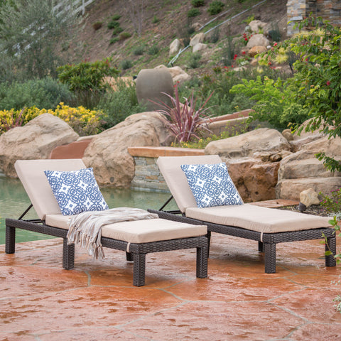 Budva Outdoor Wicker Adjustable Chaise Lounge w/ Cushion