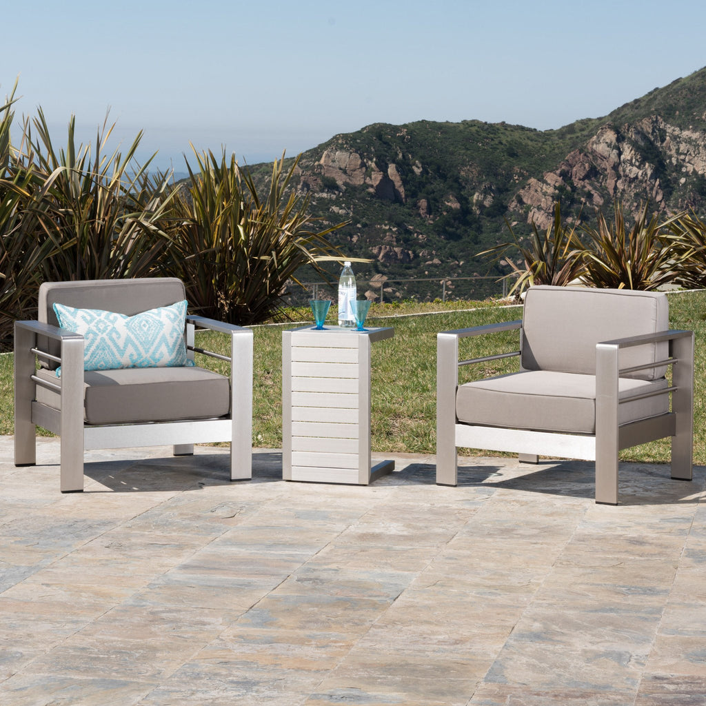 Coral Bay Outdoor Aluminum Club Chairs With Side Table