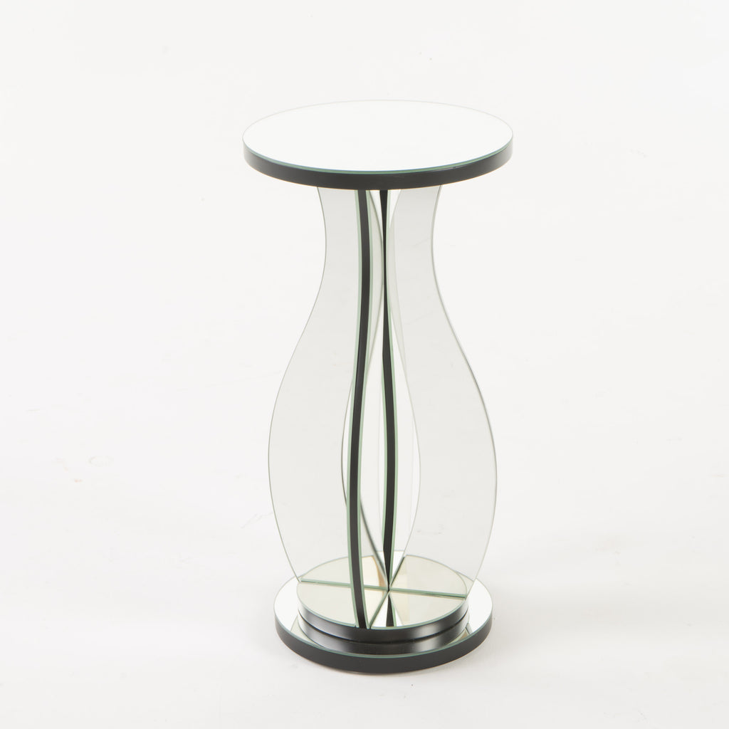 Tyne Modern Glam Curvy Mirror Accent Table with Circular Tabletop