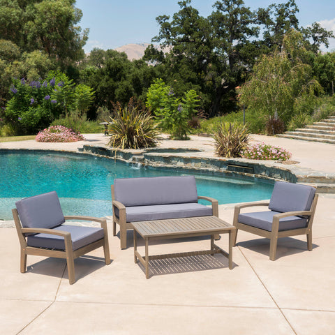 Grenada Outdoor Acacia Wood 4 Piece Chat Set w/ Water Resistant Cushions