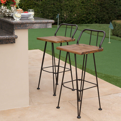 Leonardo Outdoor Industrial Teak Finished Acacia Wood Barstools with Iron Frame