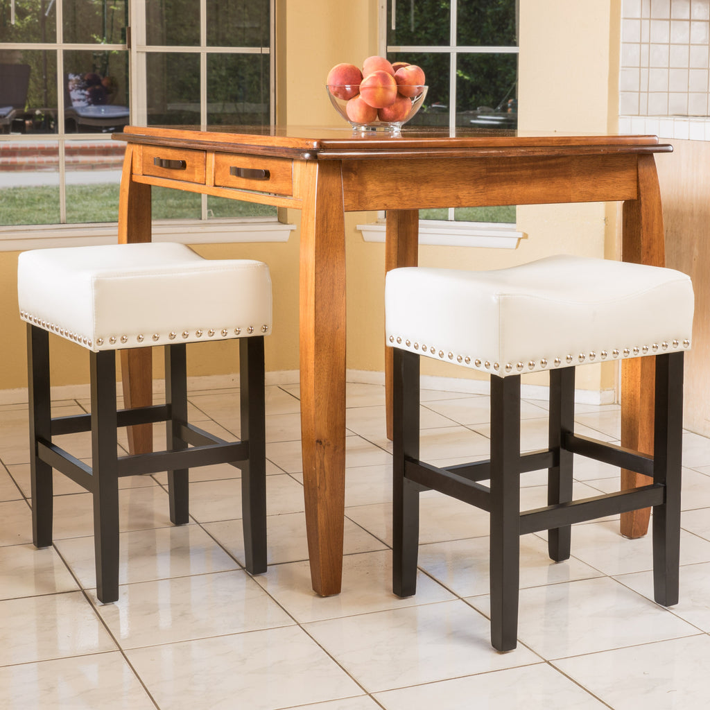 Ralph Off White Leather Backless 26 Inch Counter Stool Set Of 2