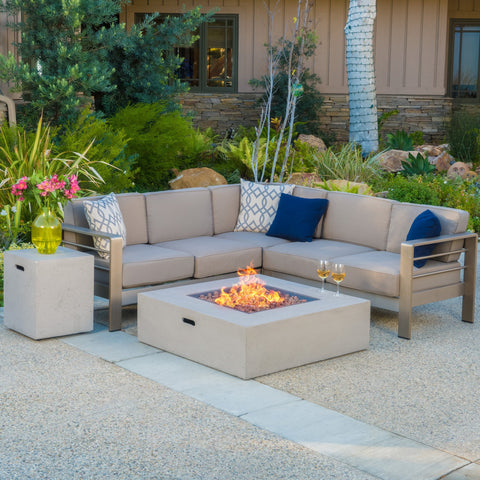 Crested-Bay V-shape Outdoor Fire Table Sofa Set
