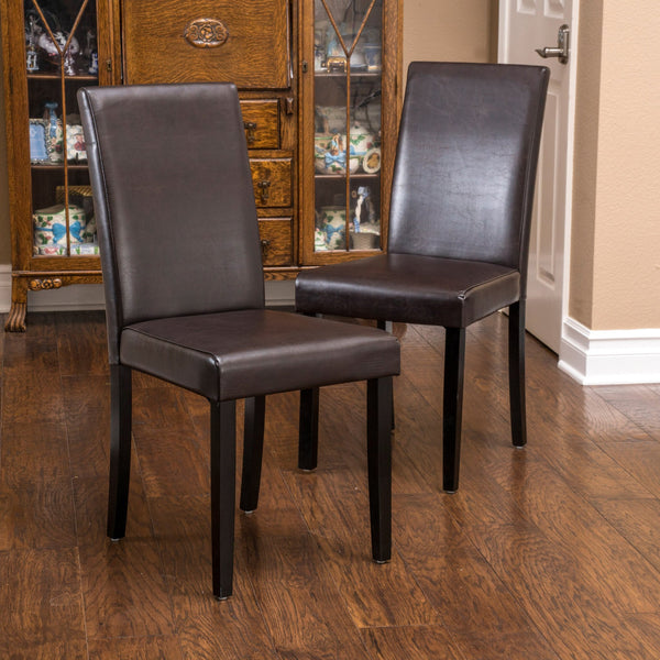 Brown Leather Dining Room Chairs: Esteban Brown Leather Parson Dining Chairs (Set Of 2