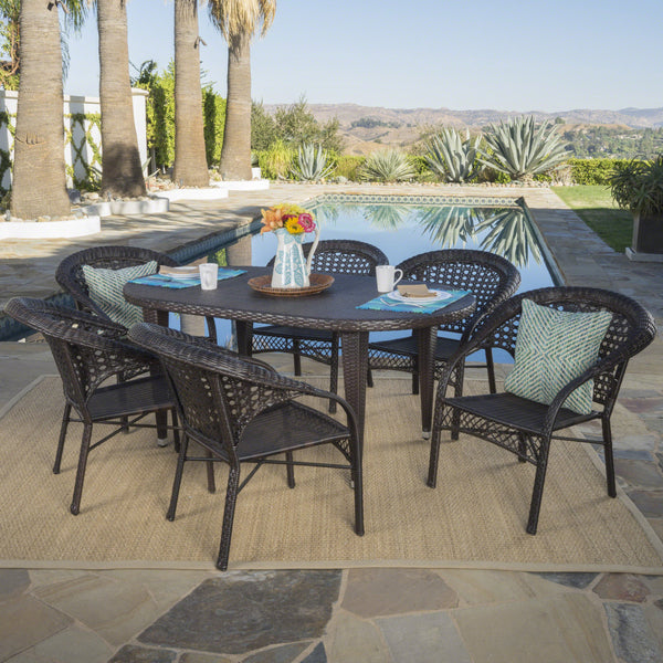 Alina Outdoor 7 Piece Multi-brown Wicker Oval Dining Set with Stacking Chairs