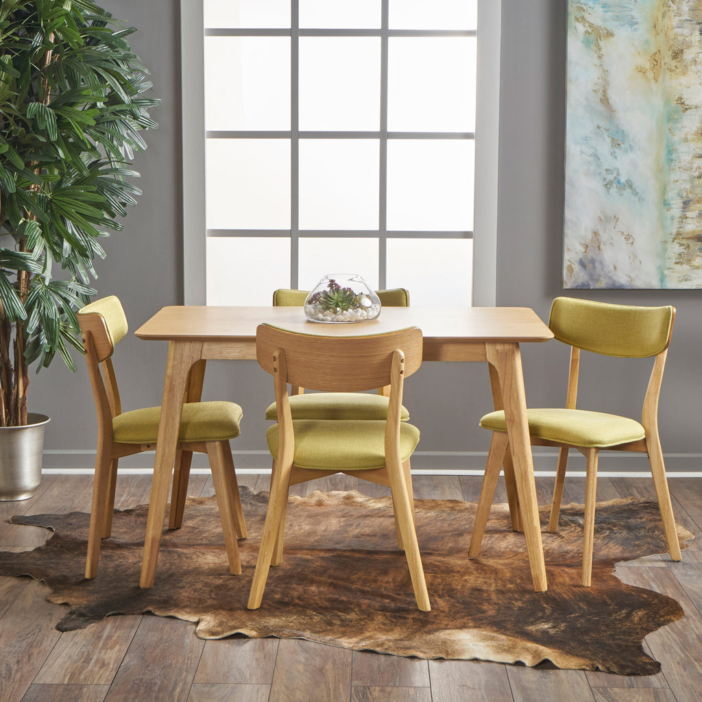 Meanda mid century finished 5 piece wood dining set with fabric meanda mid century finished 5 piece wood dining set with fabric chairs gdf studio dzzzfo