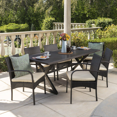 Ashwood Outdoor 7 Piece Brown Aluminum Dining Set with Multi-brown Chairs