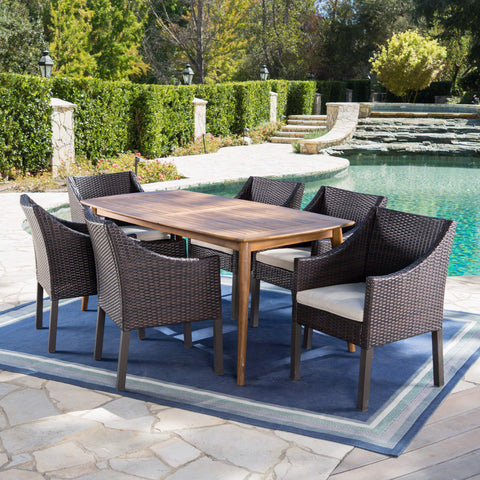 Allen Outdoor 7 Piece Wicker Dining Set with Teak Finished Acacia Wood Table