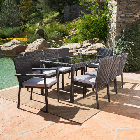 San Simeon Outdoor 9 Piece Wicker Rectangular Dining Set