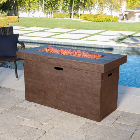 Crawford Outdoor Rectangular Gas Burning Fire Pit - 50,000 BTU