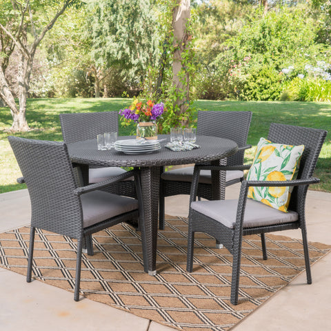 Bishop Outdoor 5 Piece Wicker Circular Dining Set with Water Resistant Cushions