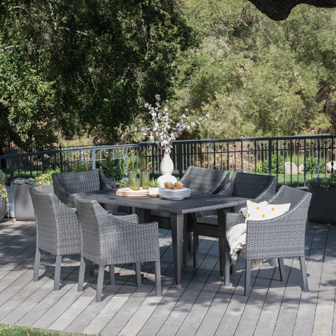 Alanna Outdoor 7 Piece Gray Wicker Dining Set with Water Resistant Cushions