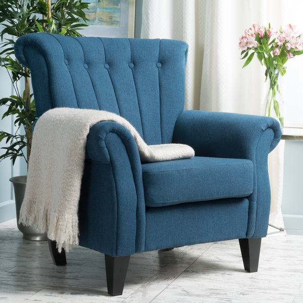 Romee Contemporary Channel Stitch Fabric Club Chair with Scrolled Arms