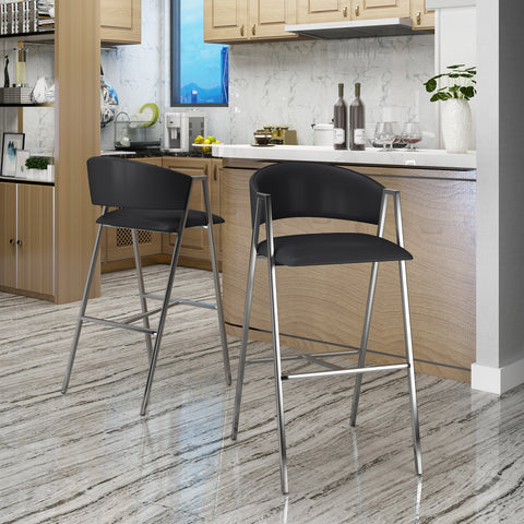 Emily Modern Leather 28.25 Inch Barstool (Set of 2)