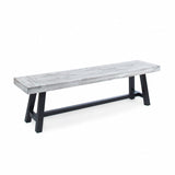 Angelina Indoor Farmhouse Acacia Wood Dining Bench with Rustic Metal Finish Frame