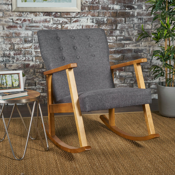 Hank Mid Century Modern Fabric Rocking Chair
