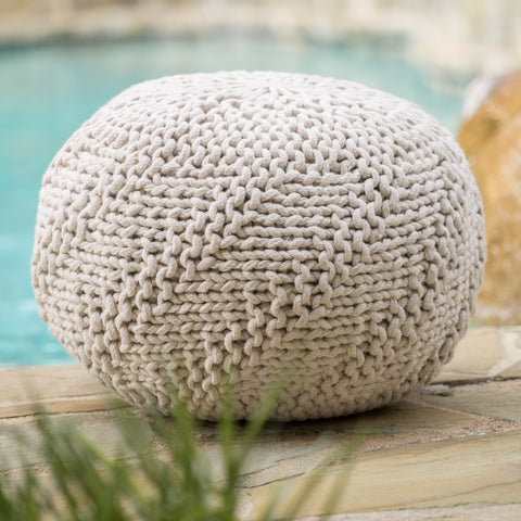 Ashbury Outdoor Boho Round Hand-Crafted Knitted Ottoman Pouf