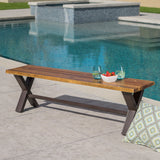 Sanil Outdoor Teak Finished Acacia Wood Dining Bench