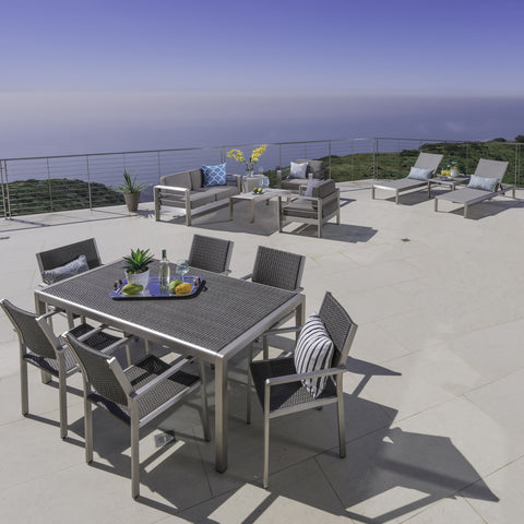 Coral Bay Outdoor Wicker Dining Set with Chat Set and Lounges
