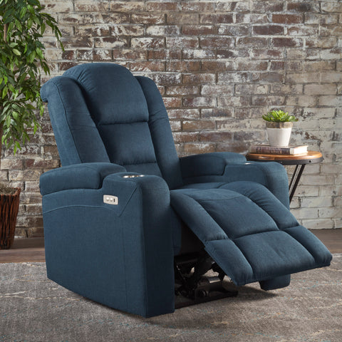 Everette Tufted Navy Blue Fabric Power Recliner with Arm Storage and USB Cord