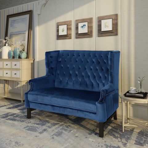 Angelina High Back Tufted Winged New Velvet Loveseat
